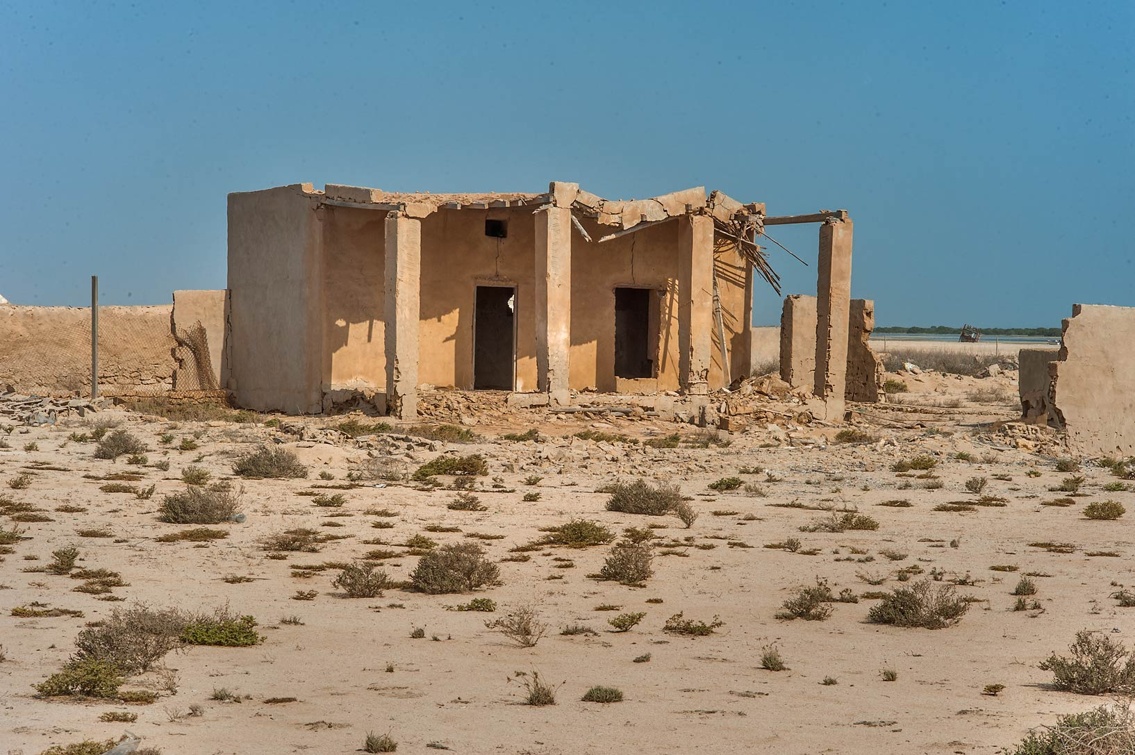 Traditional columned peristyle (liwan) in a...coast in Madinat Al Shamal area. Qatar