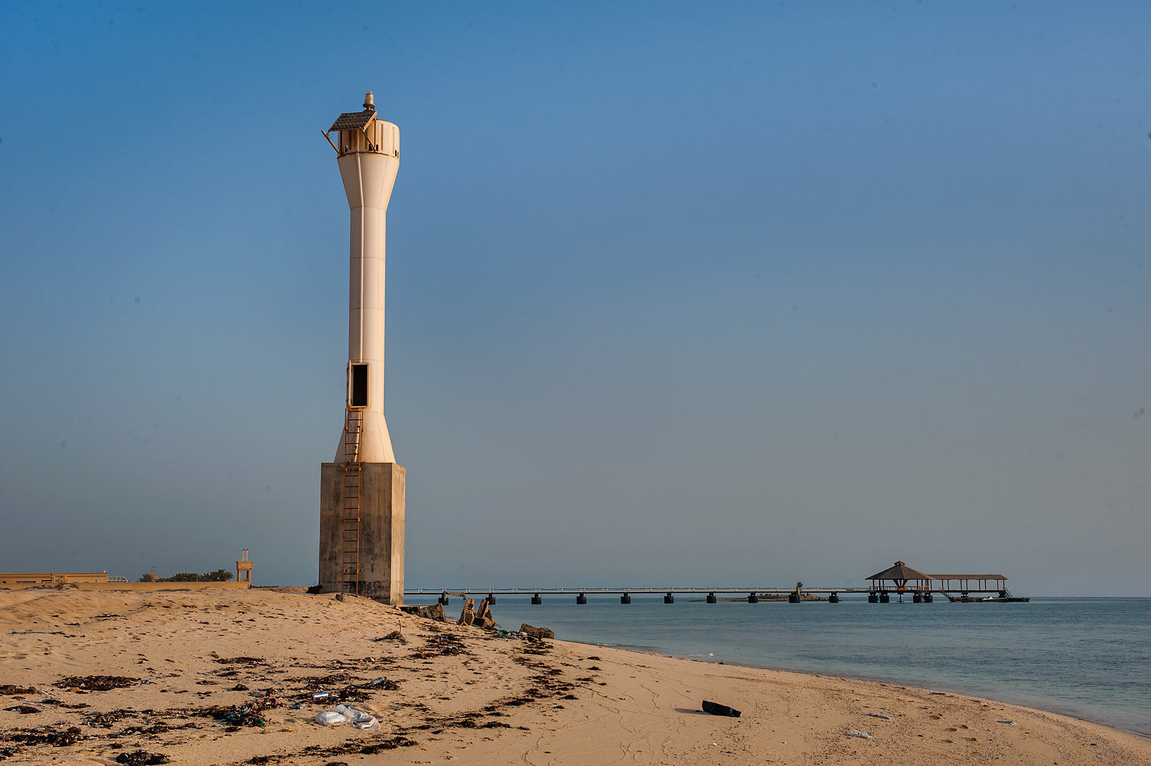 Lighthouse on a beach in Al Ghariya (Ra's Umm...western coast, view from south. Qatar