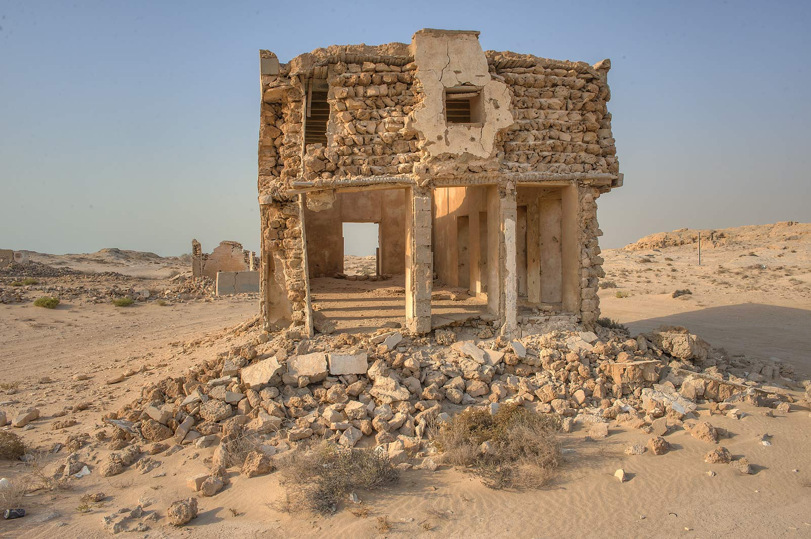 Crumbling stone house on northern side in old...eastern coast, Ash Shamal area. Qatar