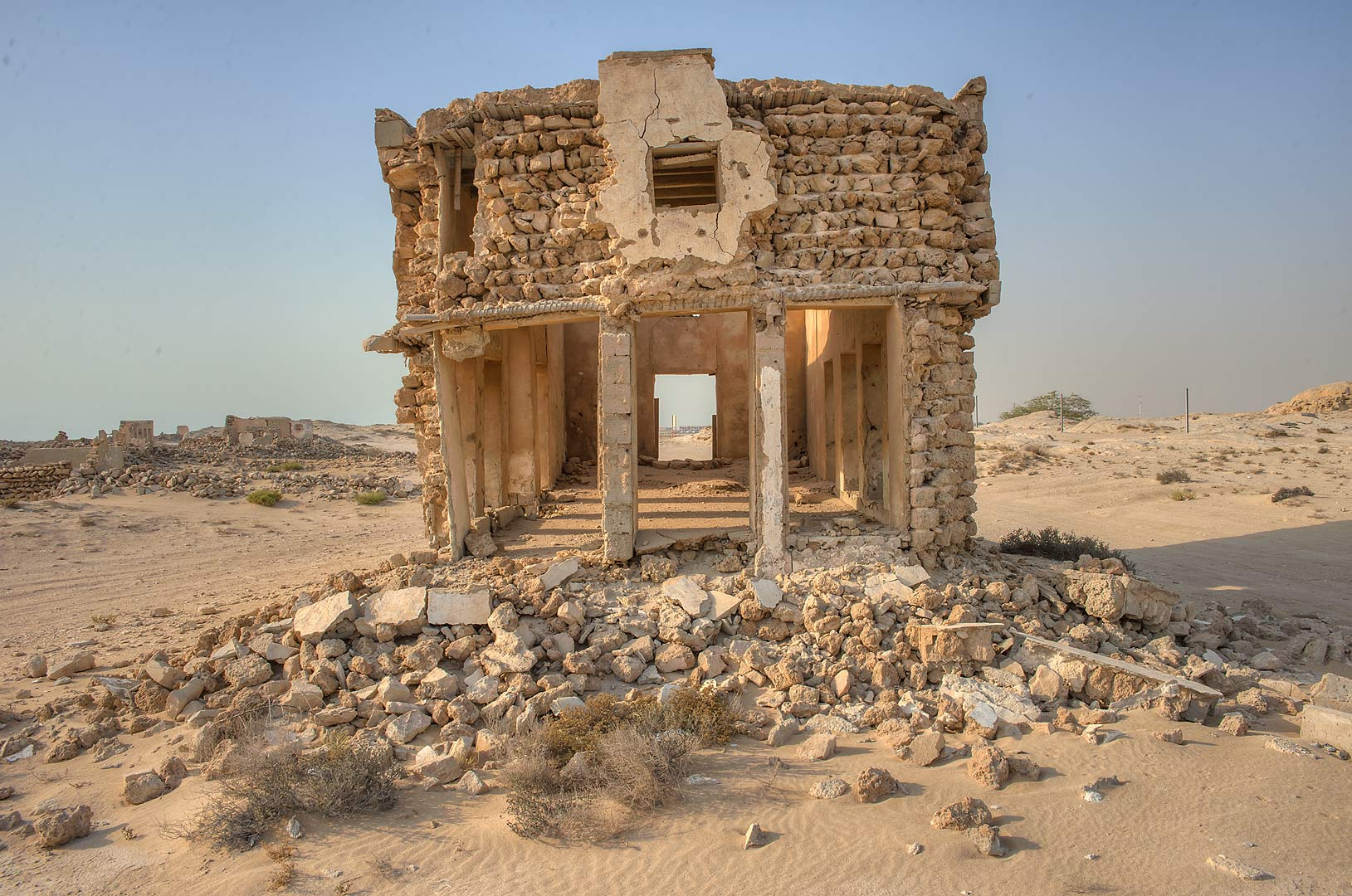 Stone house on northern side in old fishing...eastern coast, Ash Shamal area. Qatar