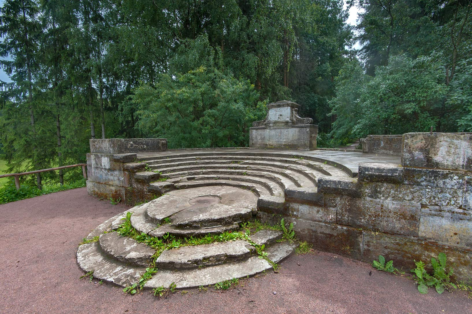 Ruins of amphitheater in Pavlovsk Park. Pavlovsk, a suburb of St.Petersburg, Russia
