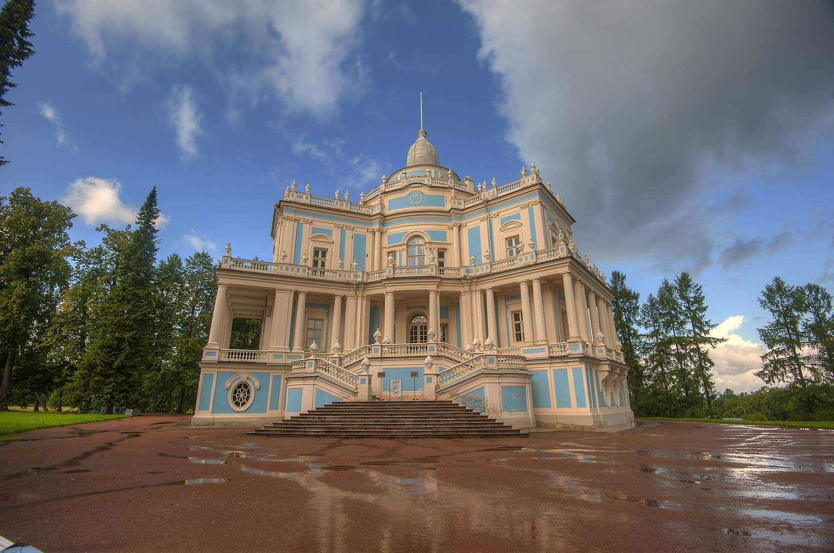 Pavilion Katalnaya Gorka after a rain in...west from St.Petersburg, Russia