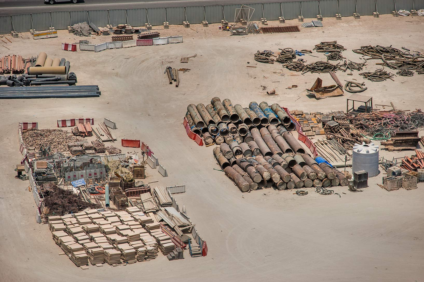 Construction junkyard from a window of Room 1-2244 of Ezdan Hotel. Doha, Qatar