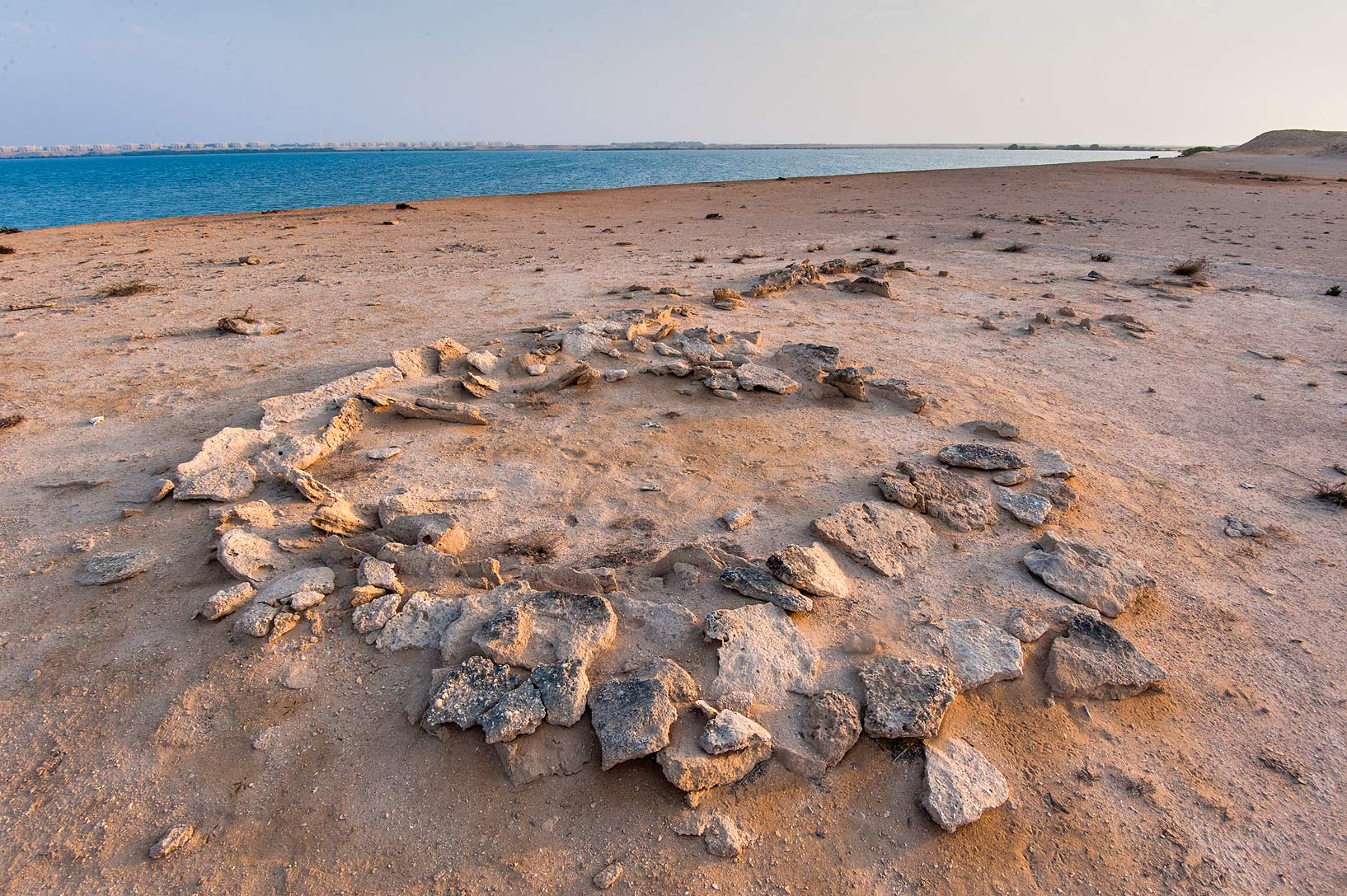 Remains of ancient settlement on Purple Island (Jazirat Bin Ghanim). Al Khor, Qatar