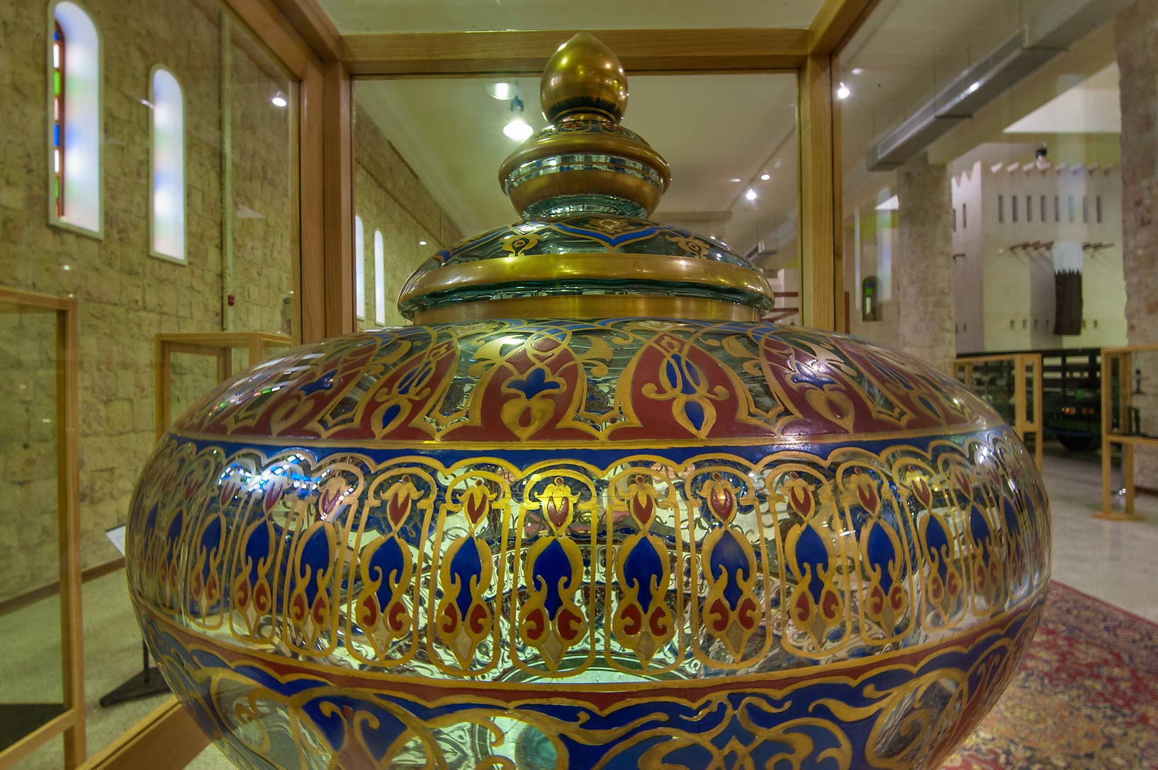 Large gilded lamp on display in Sheikh Faisal Bin...Museum near Al-Shahaniya. Doha, Qatar