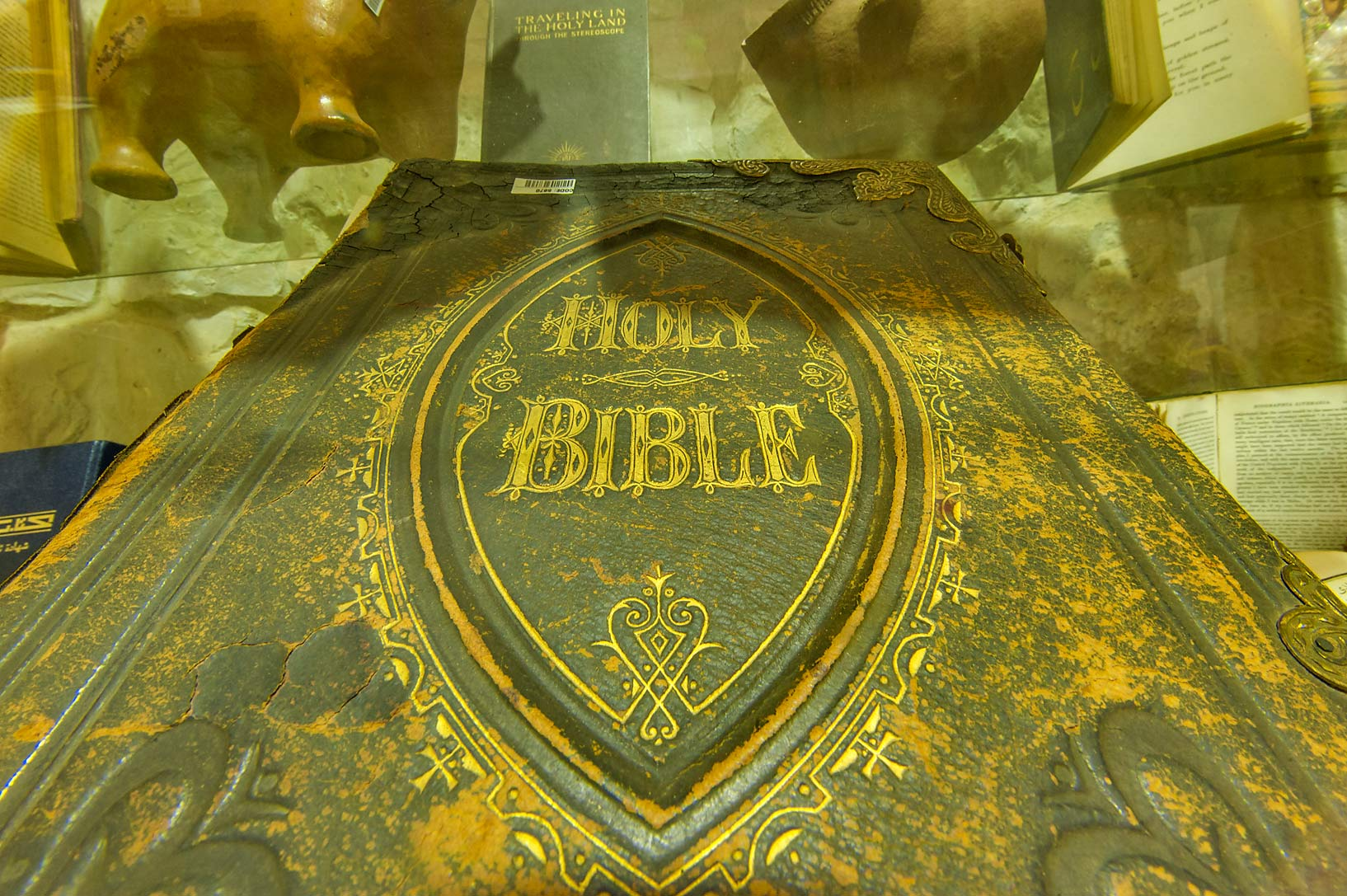 Holy Bible on display in Sheikh Faisal Bin Qassim...Museum near Al-Shahaniya. Doha, Qatar