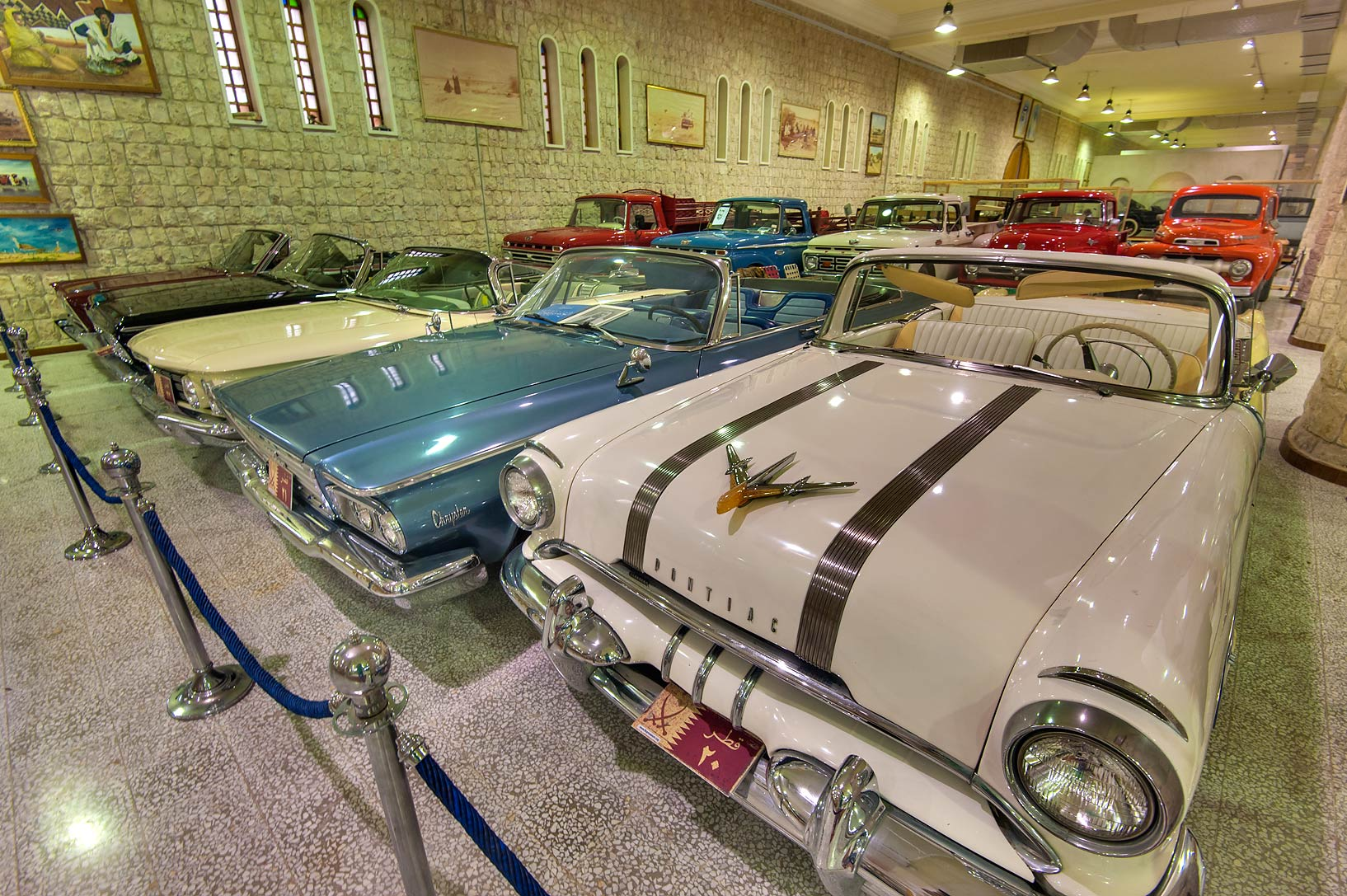 Chrysler and Pontiac cars in Sheikh Faisal Bin...Museum near Al-Shahaniya. Doha, Qatar