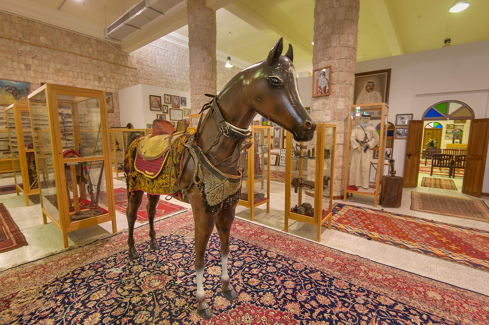 Dark brown horse on display in Sheikh Faisal Bin...Museum near Al-Shahaniya. Doha, Qatar