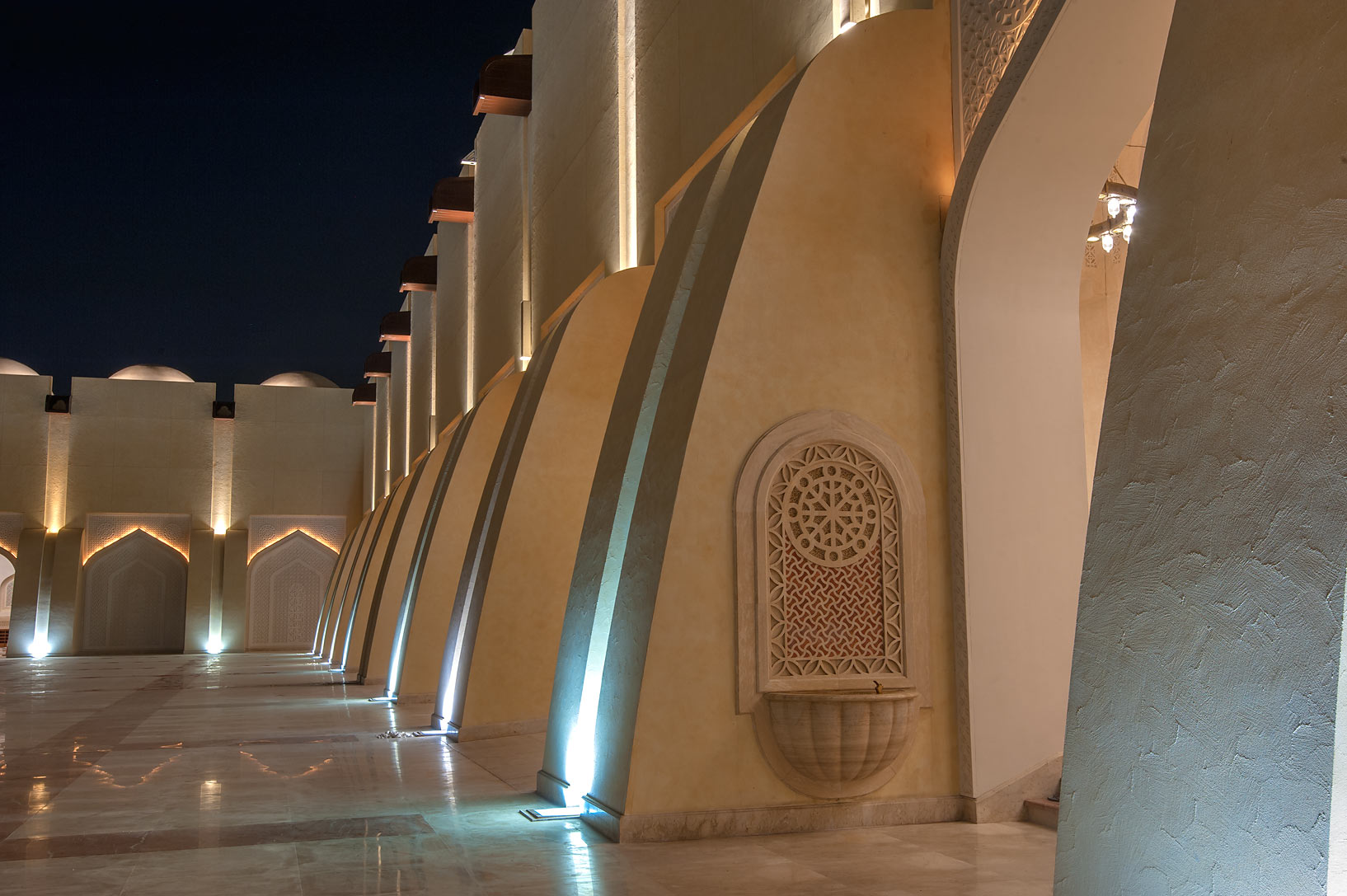 Stone walls of courtyard of State Mosque (Sheikh...Ibn Abdul Wahhab Mosque). Doha, Qatar