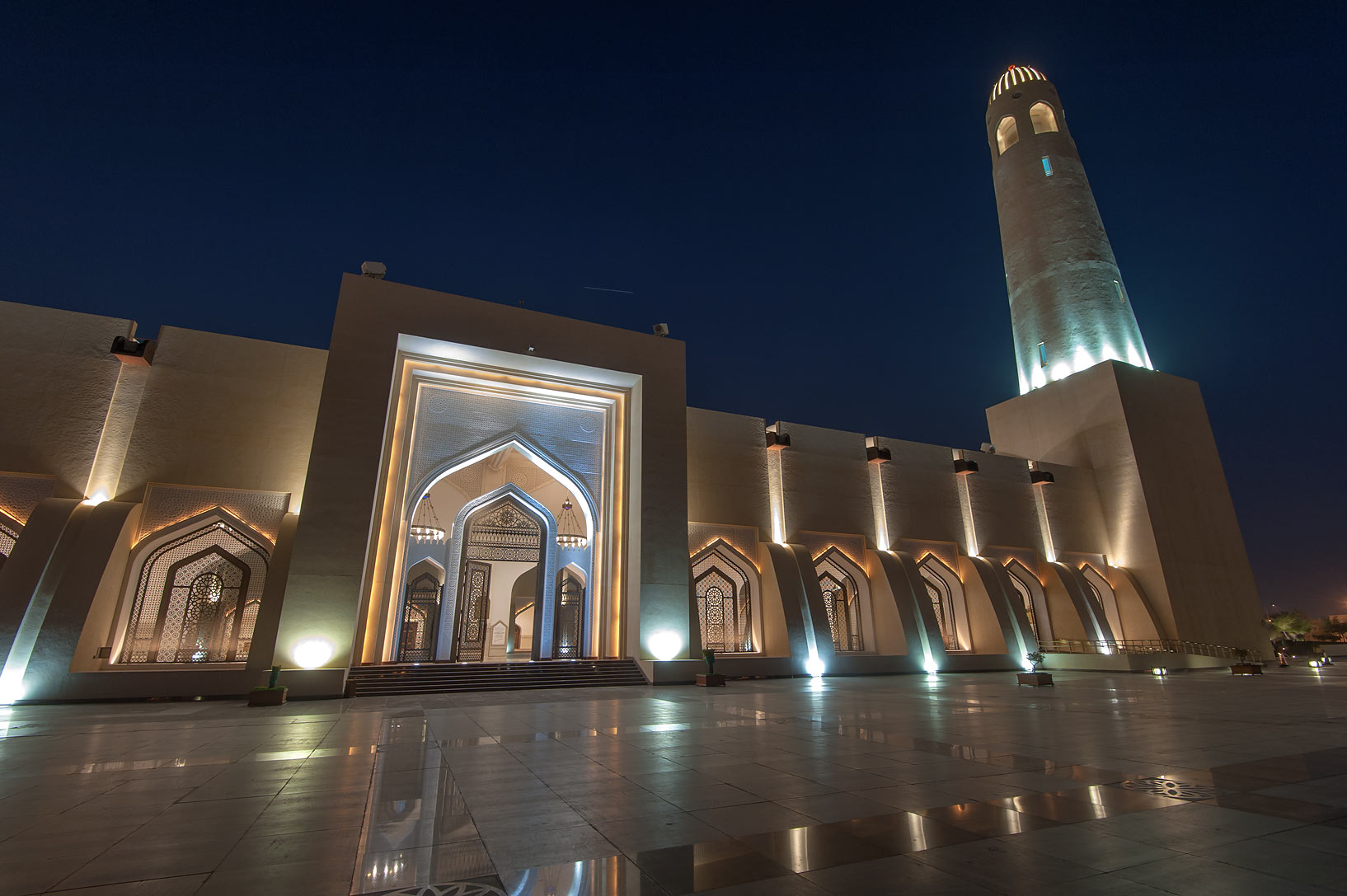 Back side of State Mosque (Sheikh Muhammad Ibn Abdul Wahhab Mosque). Doha, Qatar