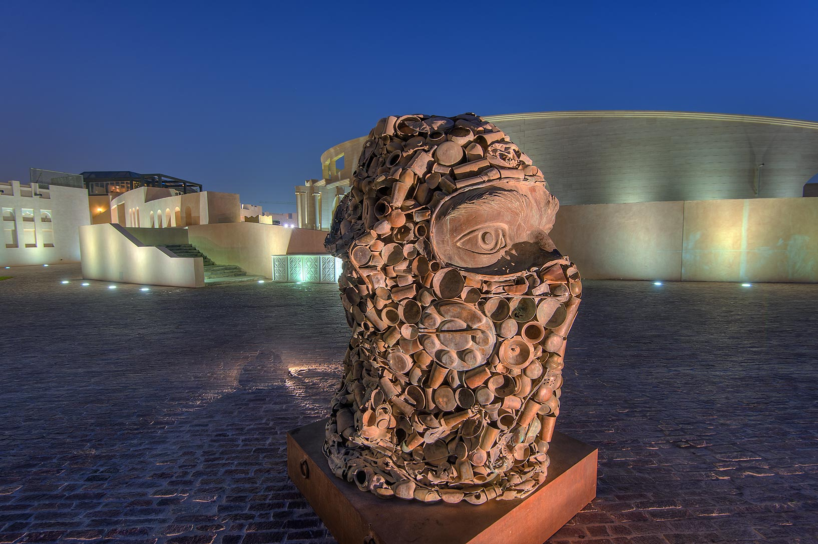 Part of Subodh Gupta's Three Monkeys Sculpture...Katara Cultural Village. Doha, Qatar