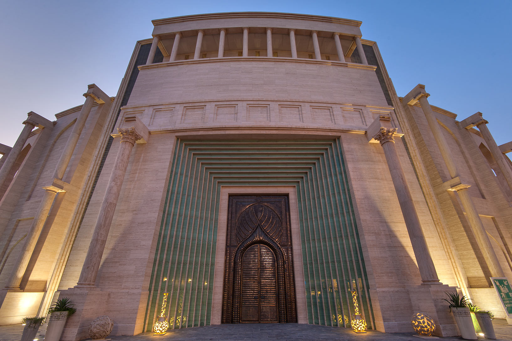 Copper gate of amphitheatre in Katara Cultural Village. Doha, Qatar