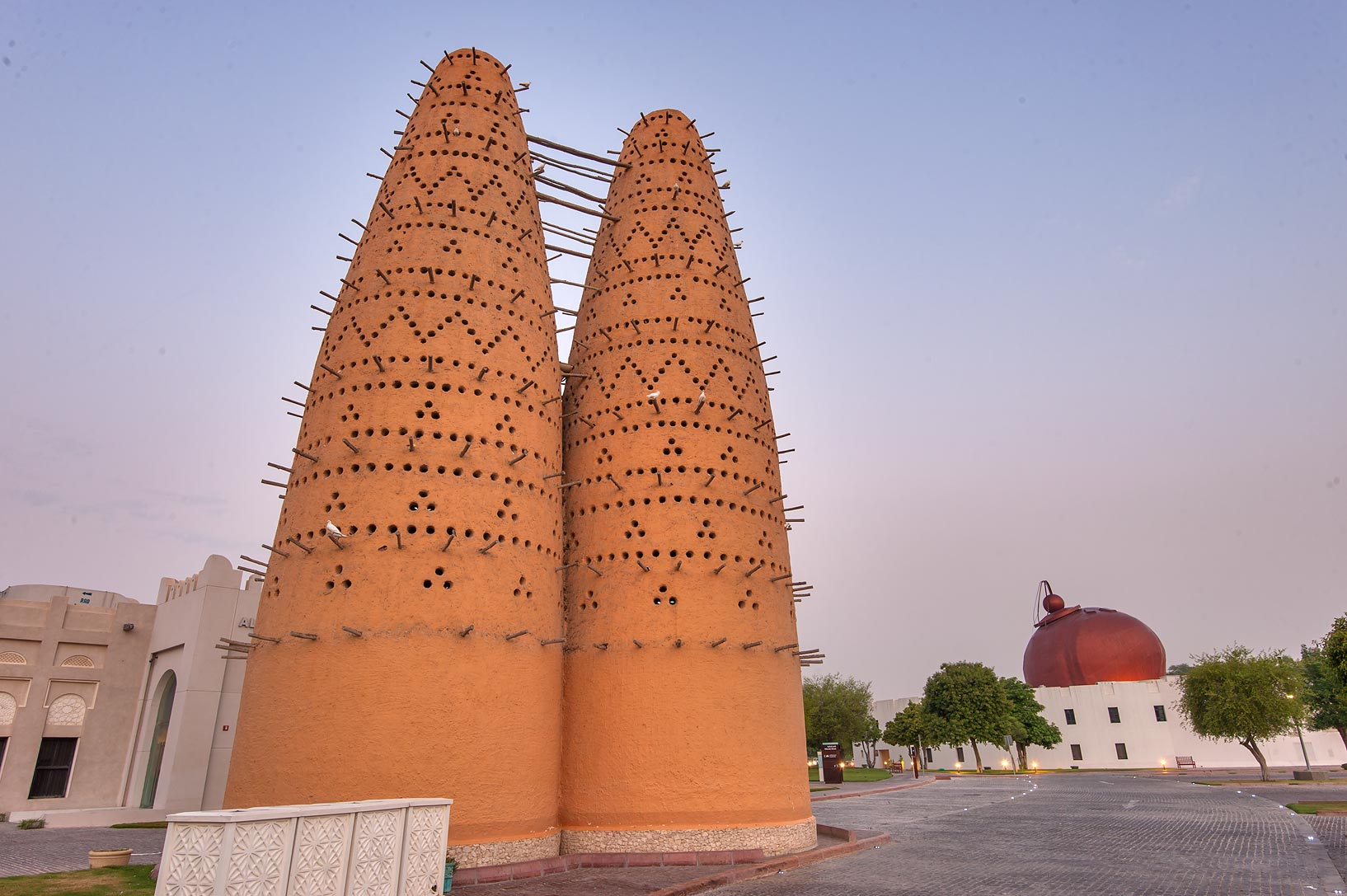 Al Hikmi St. dovecote and bird souq in Katara Cultural Village. Doha, Qatar