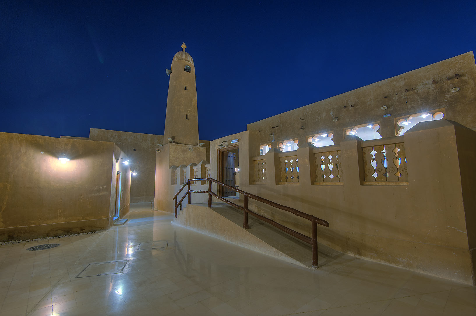Minaret of a mosque in Al Wakra Heritage Village (Souq Waqif in Al Wakrah). Qatar