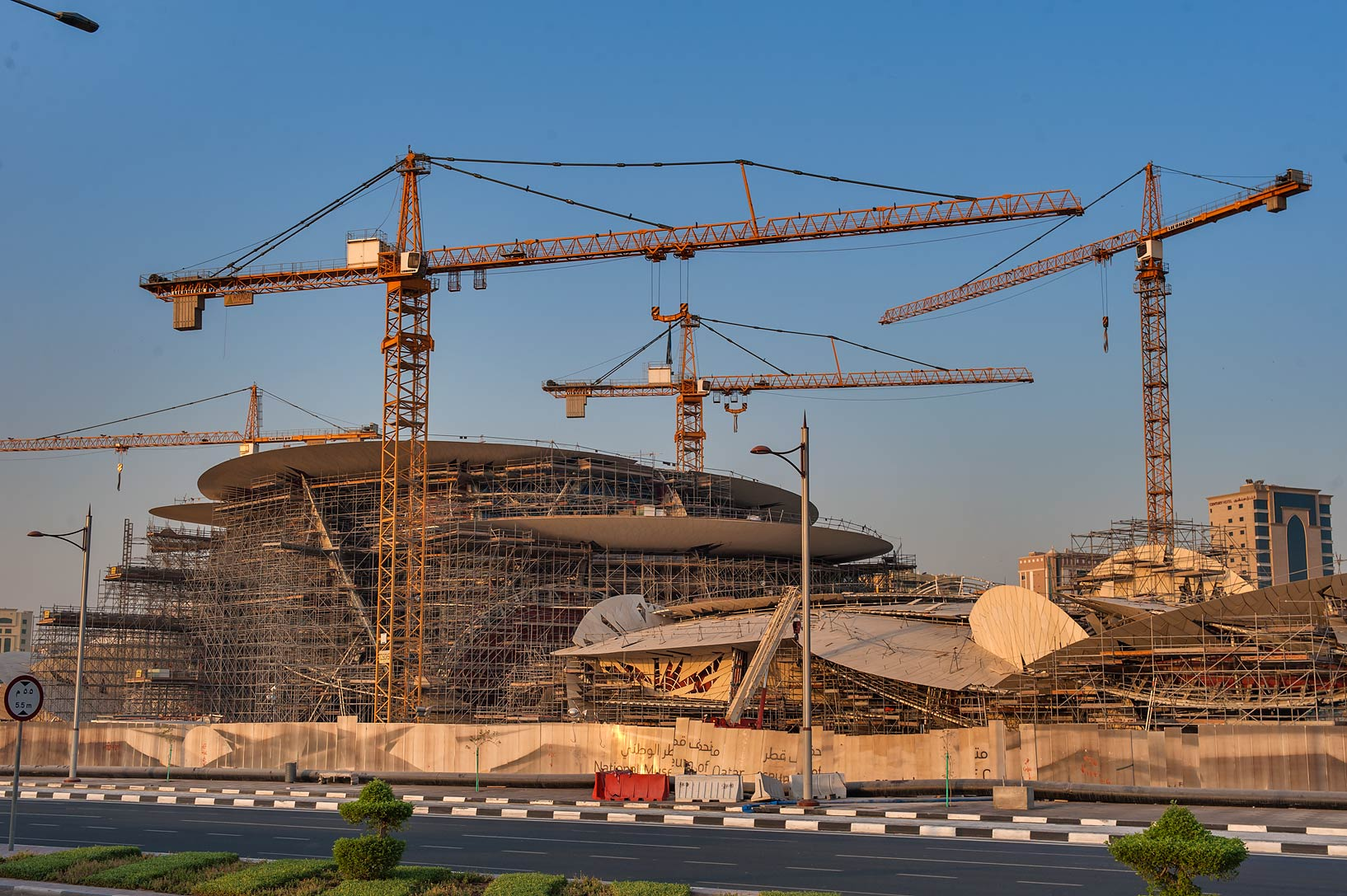 Desert rose like structure of National Museum, view from Corniche. Doha, Qatar