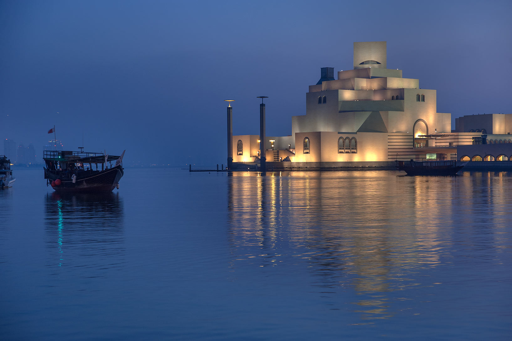 Museum of Islamic Art at morning, view from Corniche. Doha, Qatar