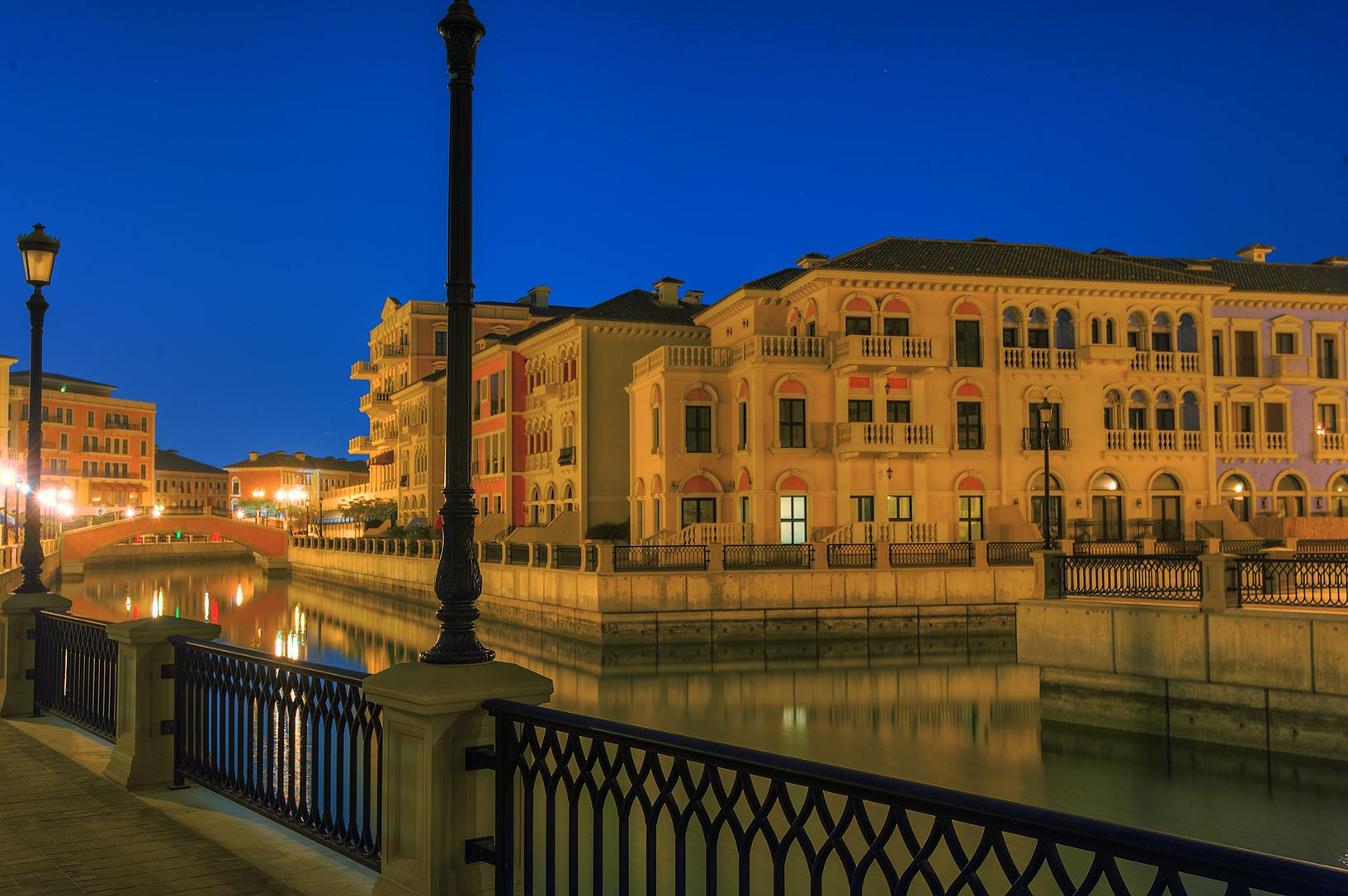 Canal junction in Qanat Quartier (Venetian style...Pearl Development Project, Doha, Qatar