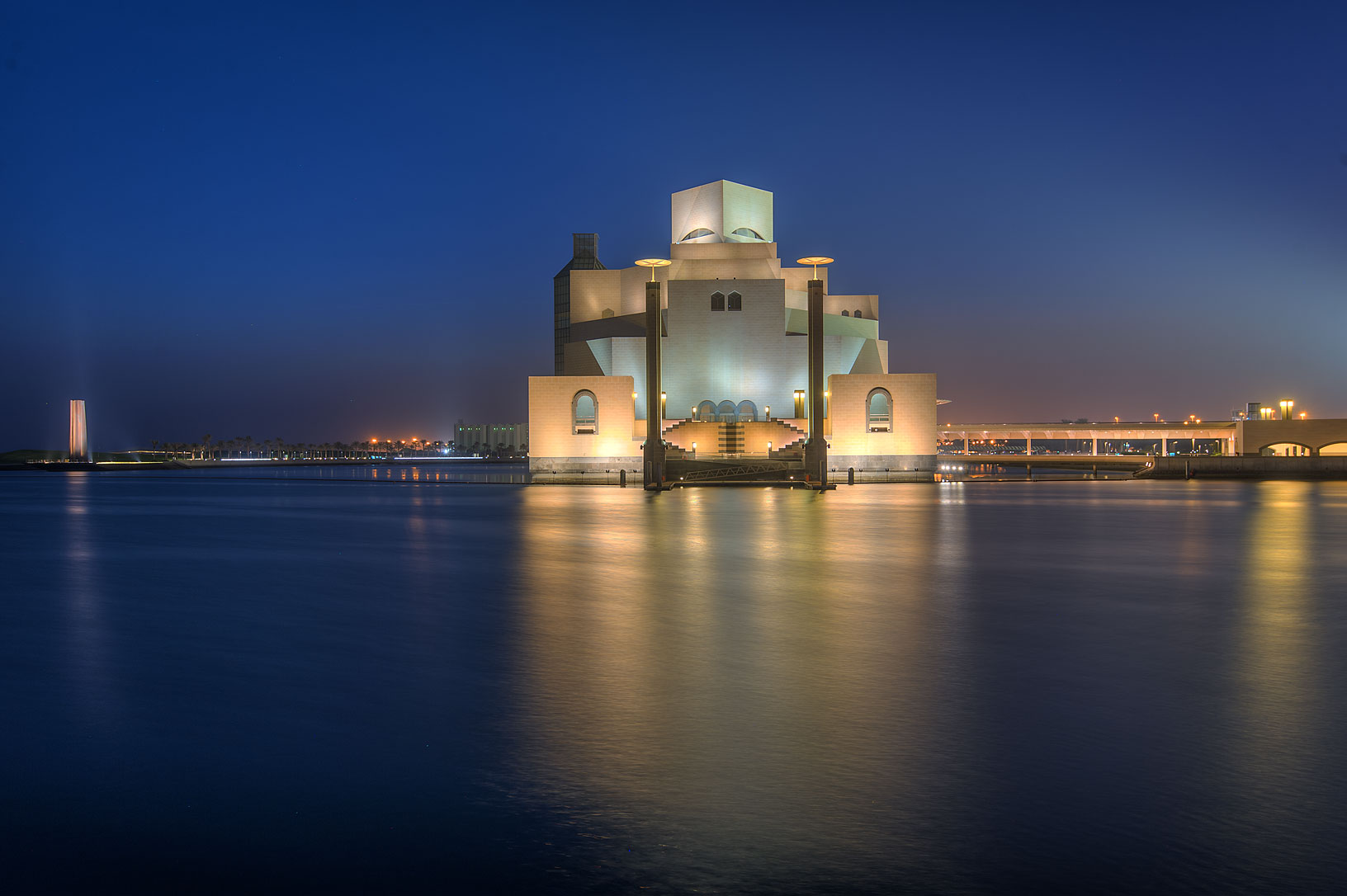 Museum of Islamic Art from a boat pier. Doha, Qatar