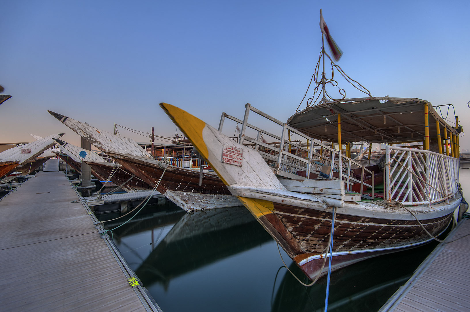 Boat pier near Corniche at morning. Doha, Qatar