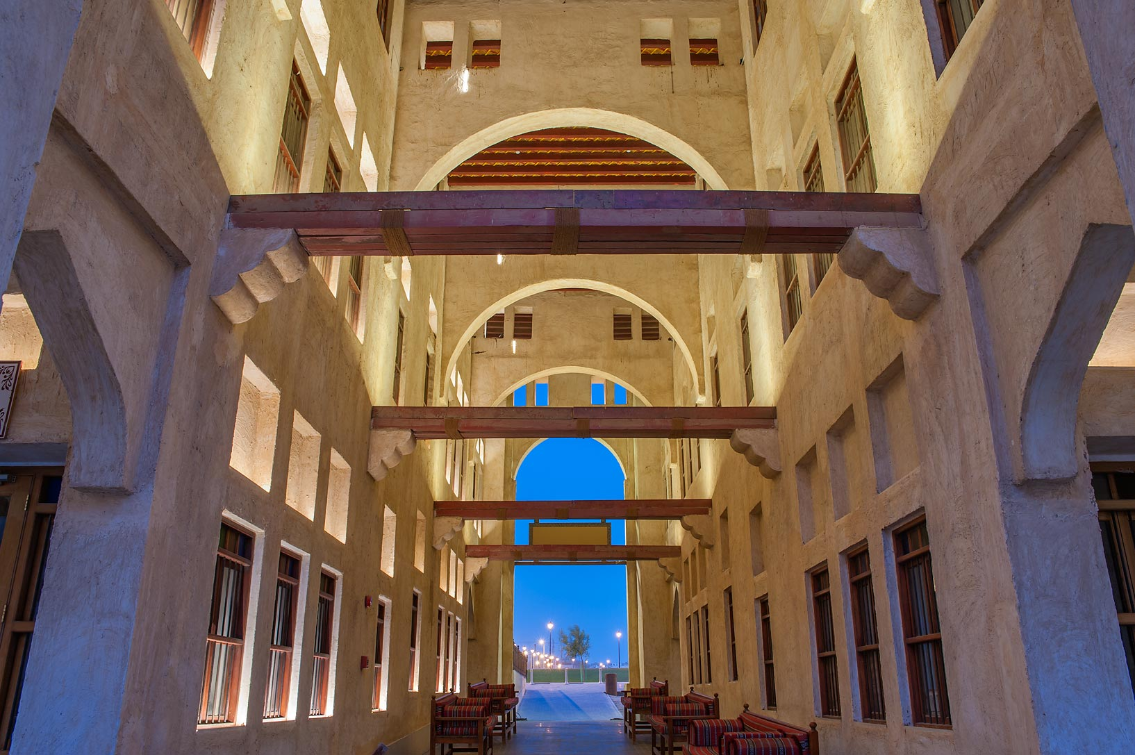 Courtyard passage of Bird Market in Souq Jaidah behind Souq Waqif. Doha, Qatar