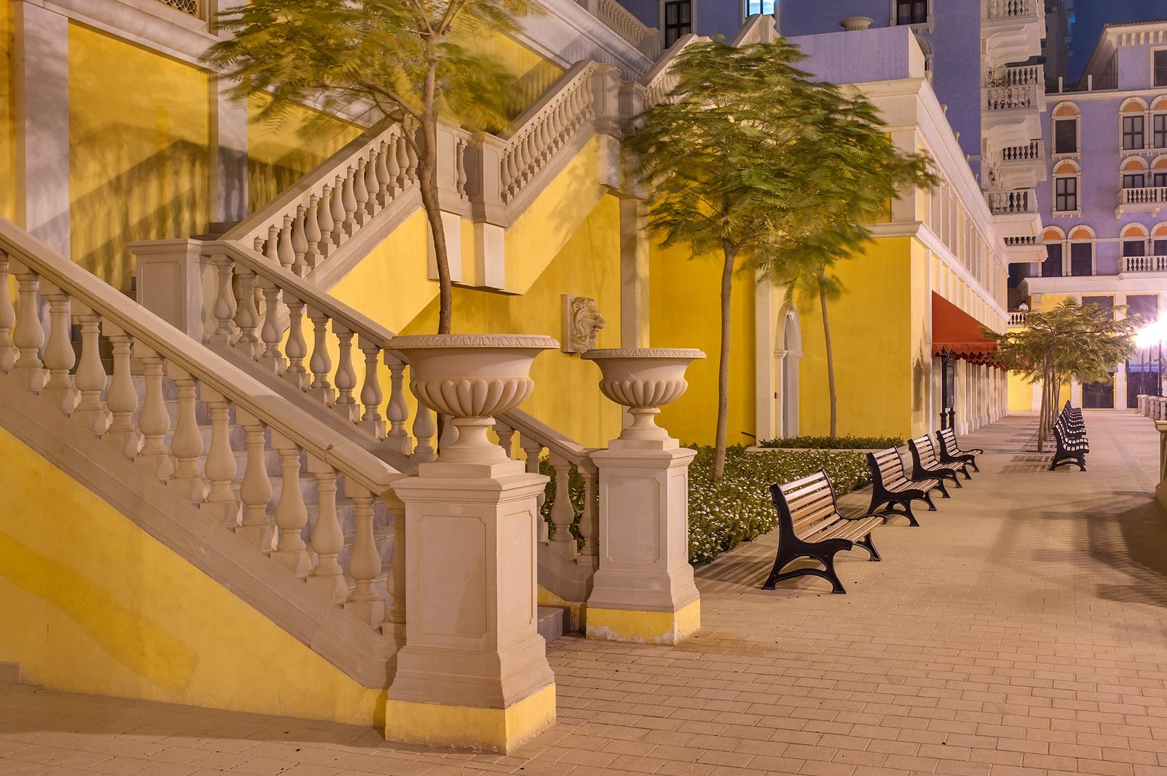 Stone stairs in Qanat Quartier (Venetian style...Pearl Development Project. Doha, Qatar