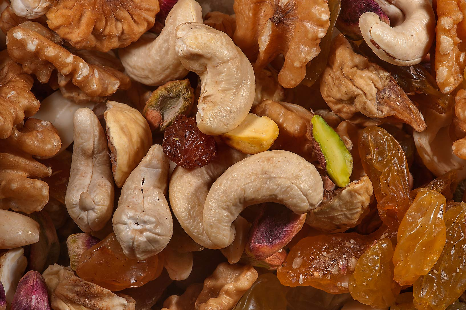 Mixed nuts and raisins in spice section in Souq Waqif (Old Market). Doha, Qatar
