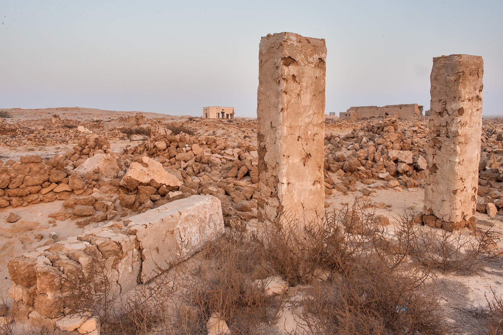 Stone ruins in old fishing village (ghost town...eastern coast, Ash Shamal area. Qatar