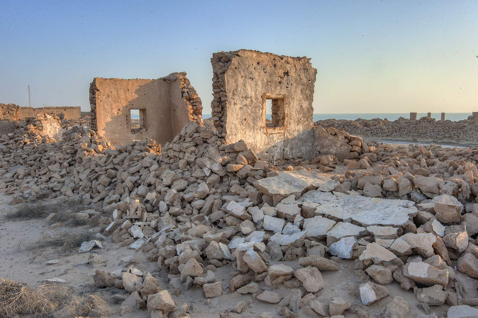 Old stone walls in old fishing village (ghost...eastern coast, Ash Shamal area. Qatar