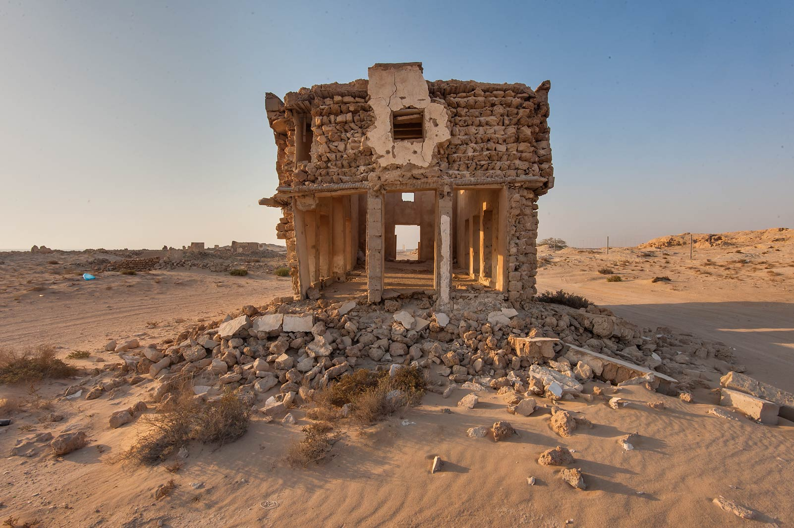 Stone house near a beach road in old fishing...eastern coast, Ash Shamal area. Qatar