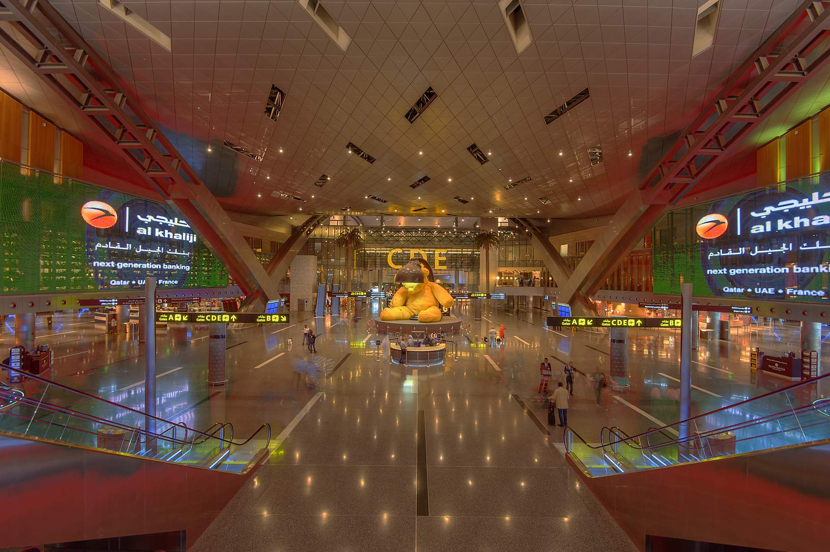 View of a big hall in Hamad International Airport. Doha, Qatar