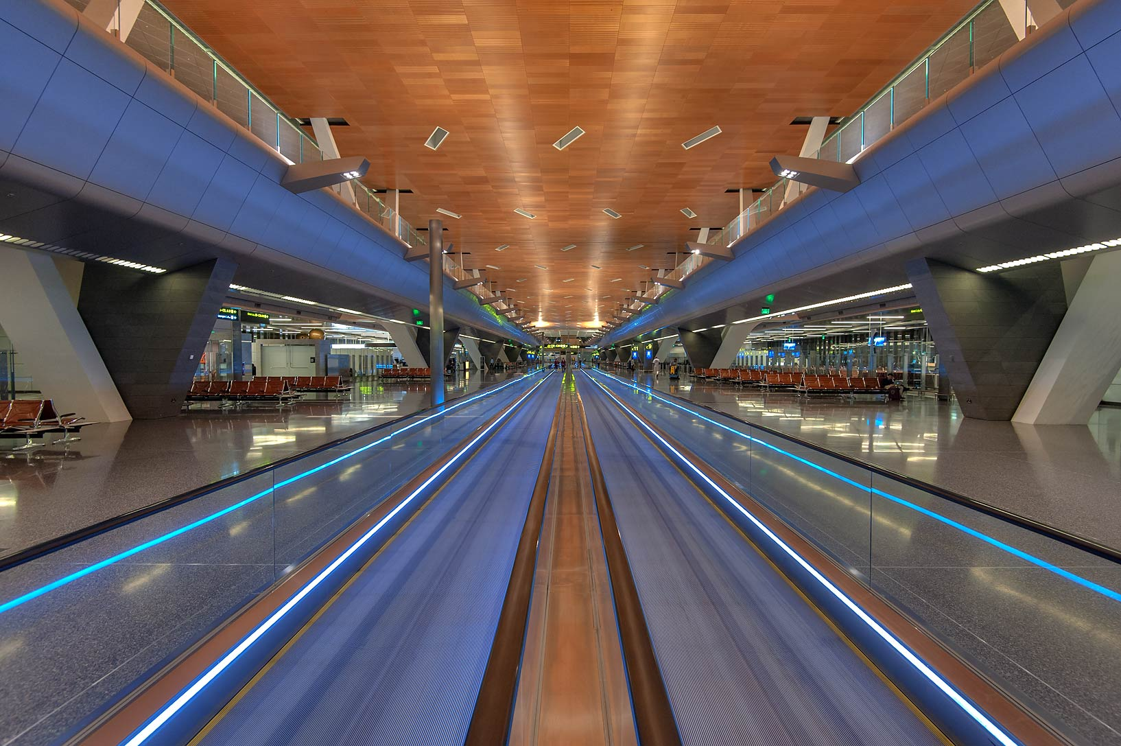Perspective view of a pair of moving sidewalks...International Airport. Doha, Qatar