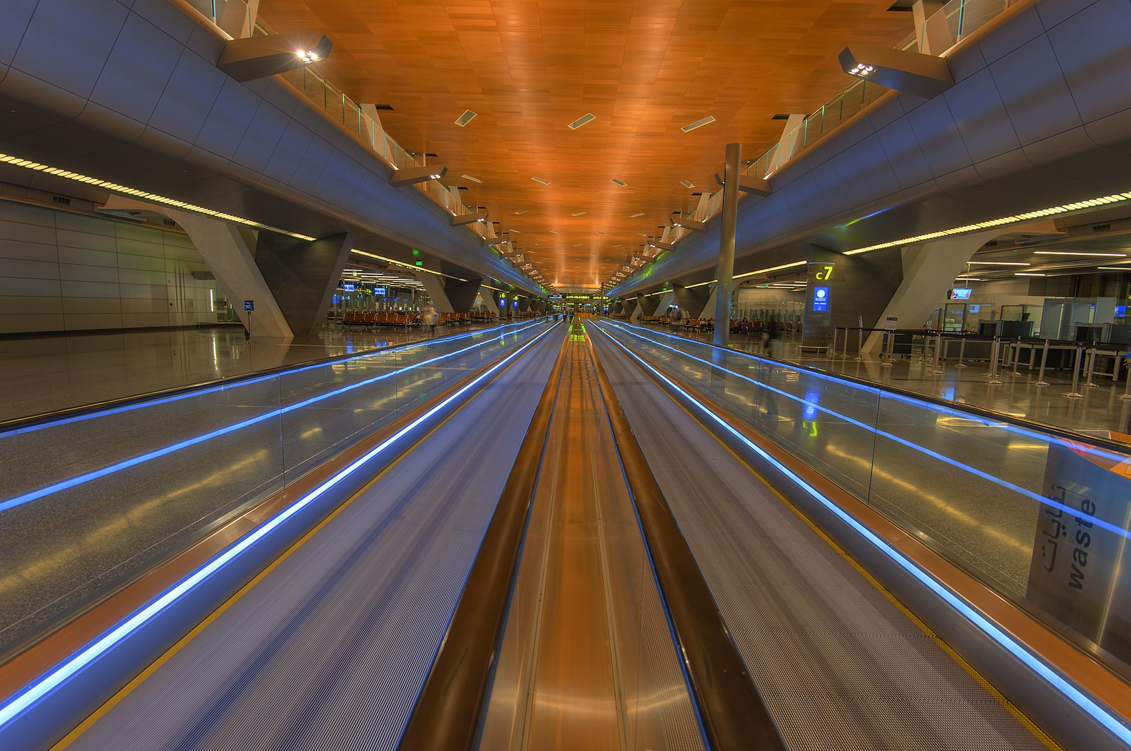 Perspective view of airport escalators (moving...International Airport. Doha, Qatar