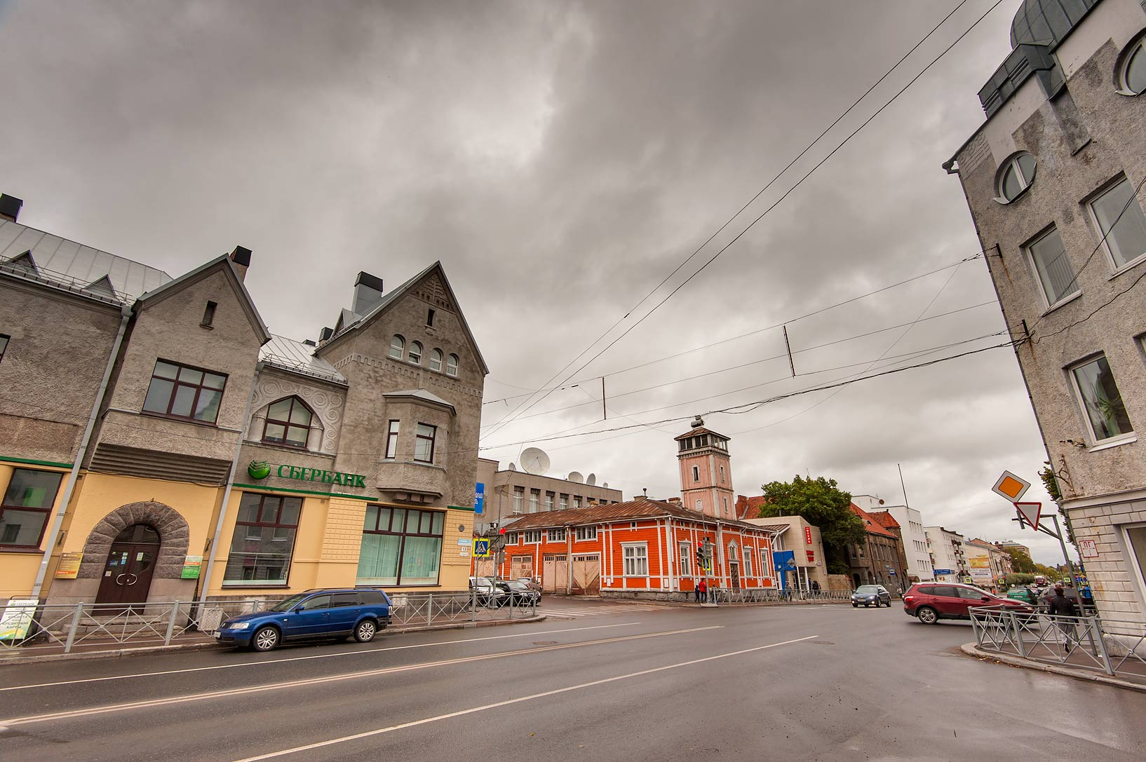 Fire Station from a corner of Karelskaya and...streets. Sortavala (Karelia), Russia