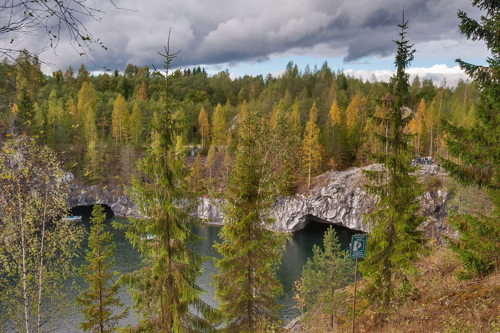 Northern part of Marble Lake (inundated marble quarry) in Ruskeala Park. Karelia, Russia