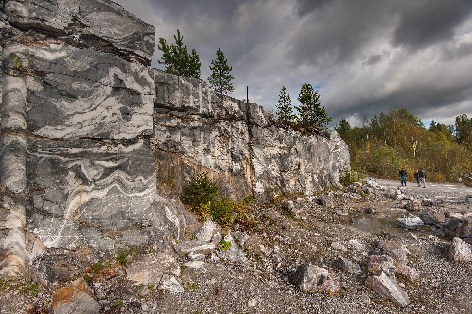 Abandoned marble quarry in Ruskeala Mountain Park. Karelia, Russia