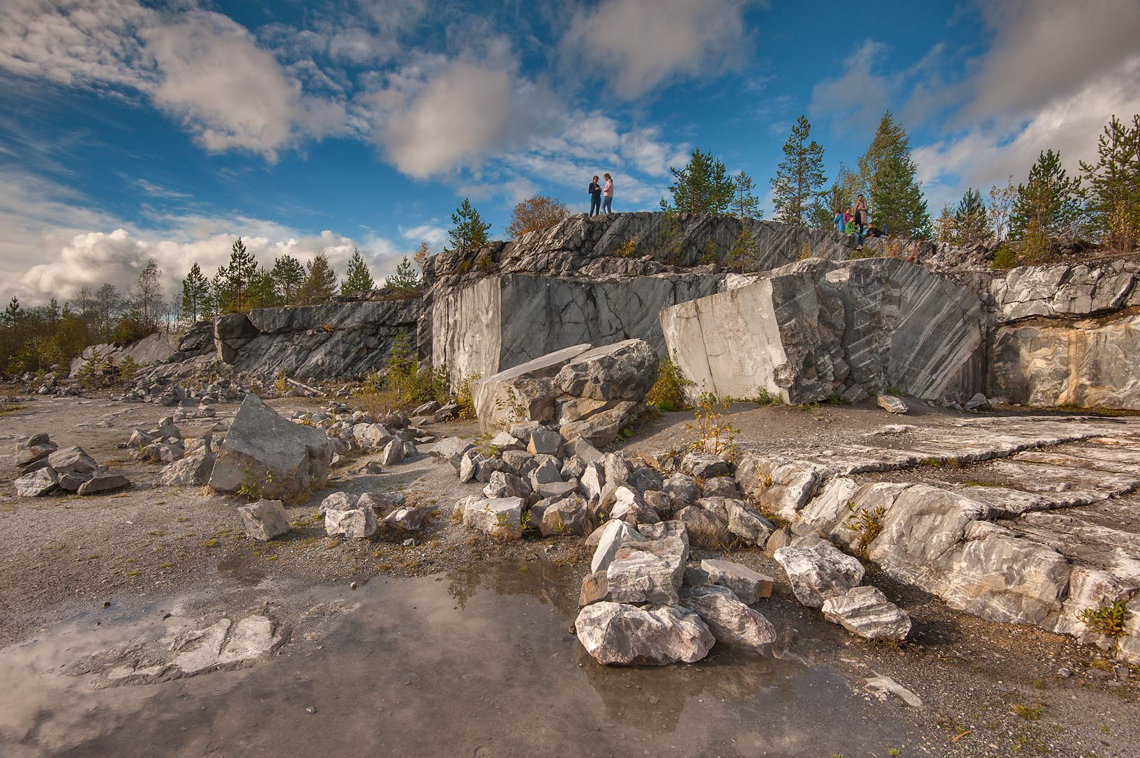 Rocks of abandoned marble quarry in Ruskeala Mountain Park. Karelia, Russia