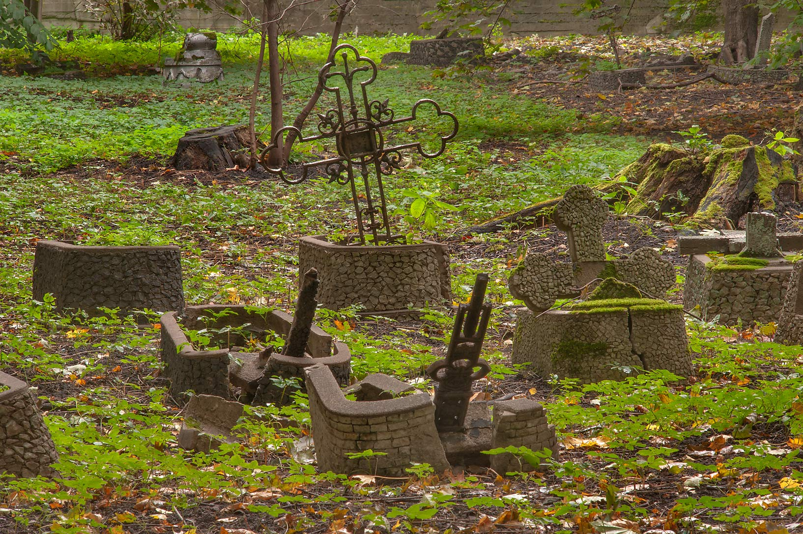 Fragments of old tombs in Novodevichye Cemetery...Prospekt. St.Petersburg, Russia