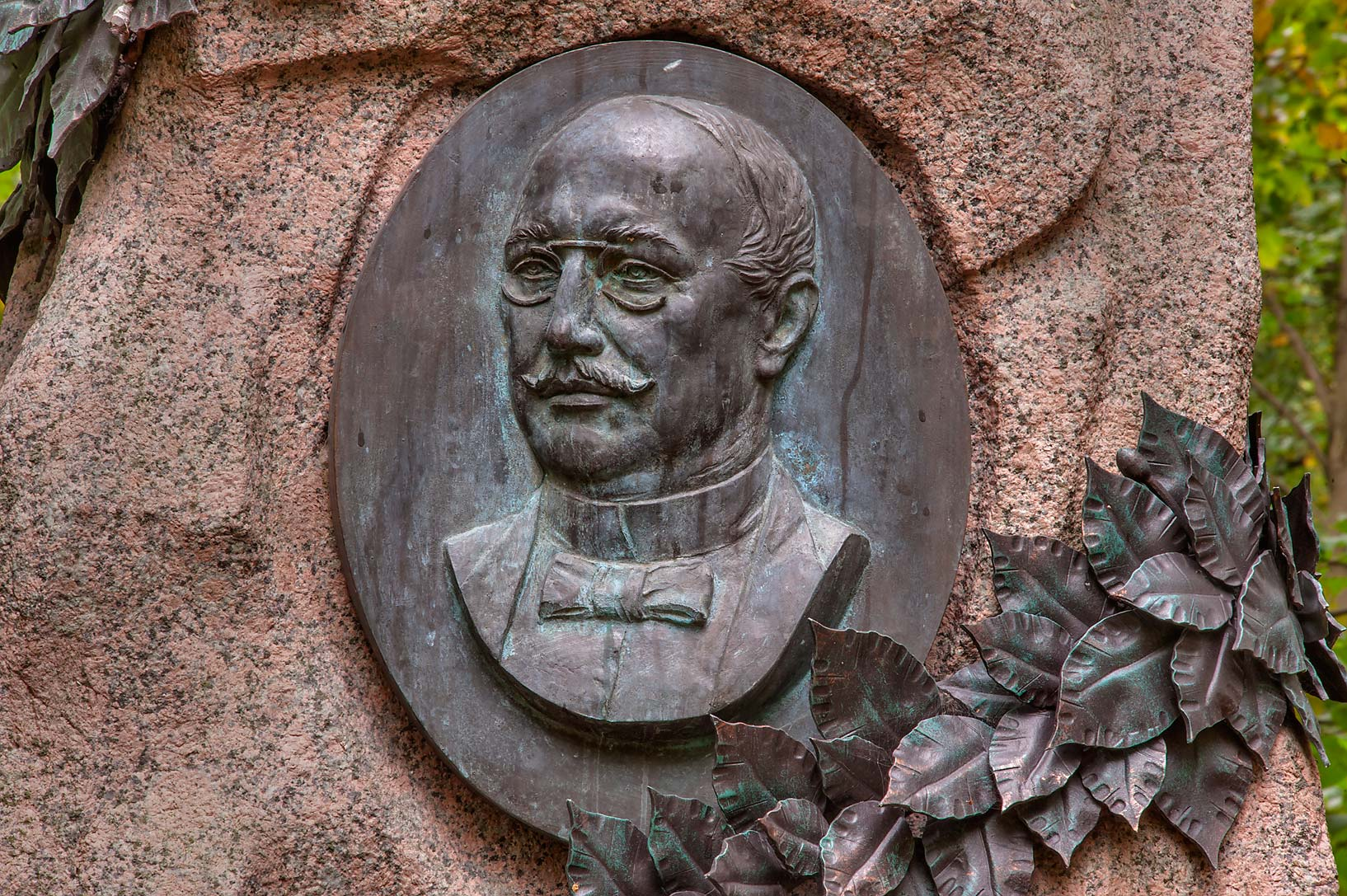 Bronze portrait on a tomb of Fon Gyubveneg in...Prospekt. St.Petersburg, Russia