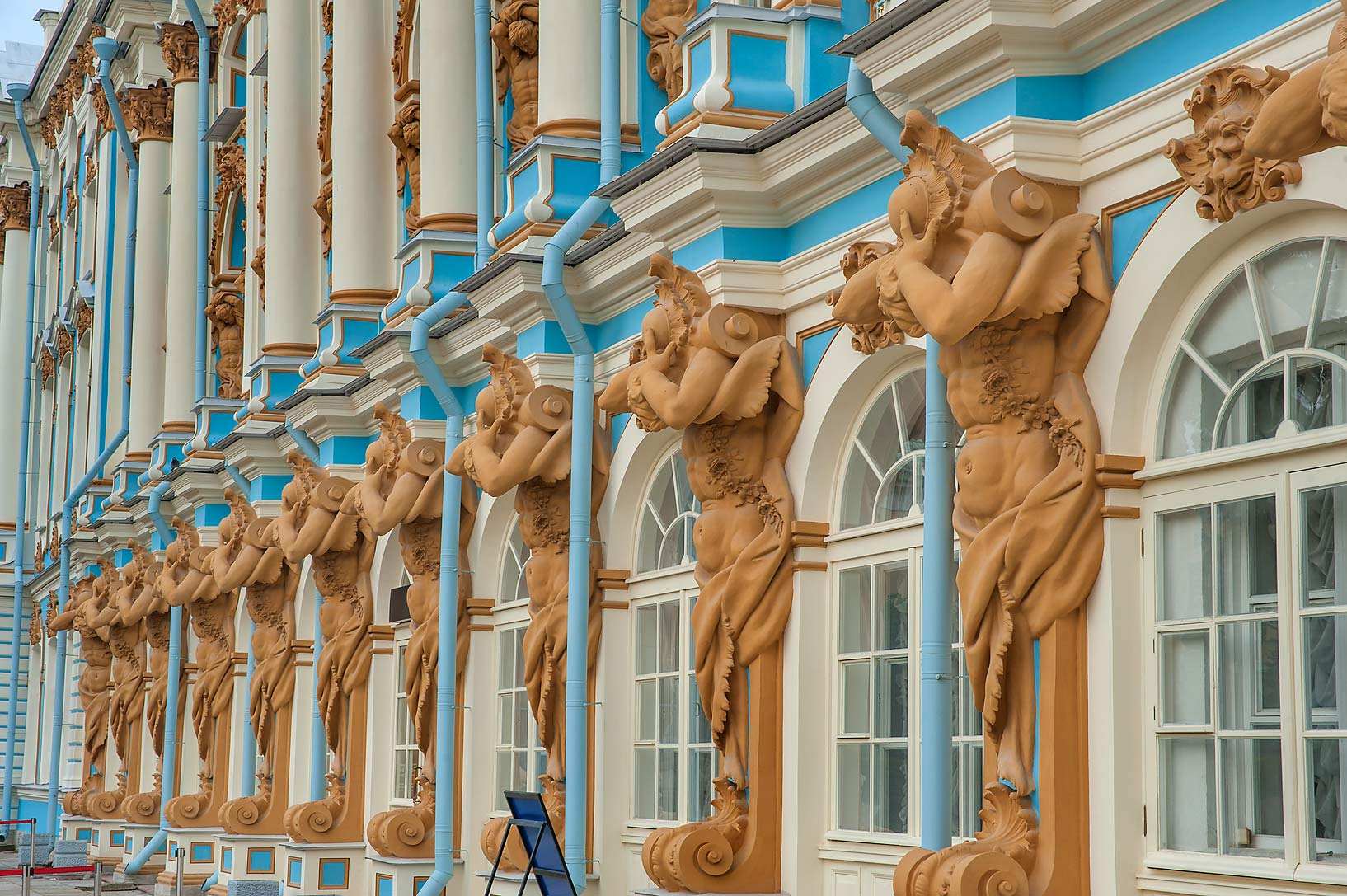 Atlantes of Catherine Palace. Pushkin (former...south from St.Petersburg, Russia