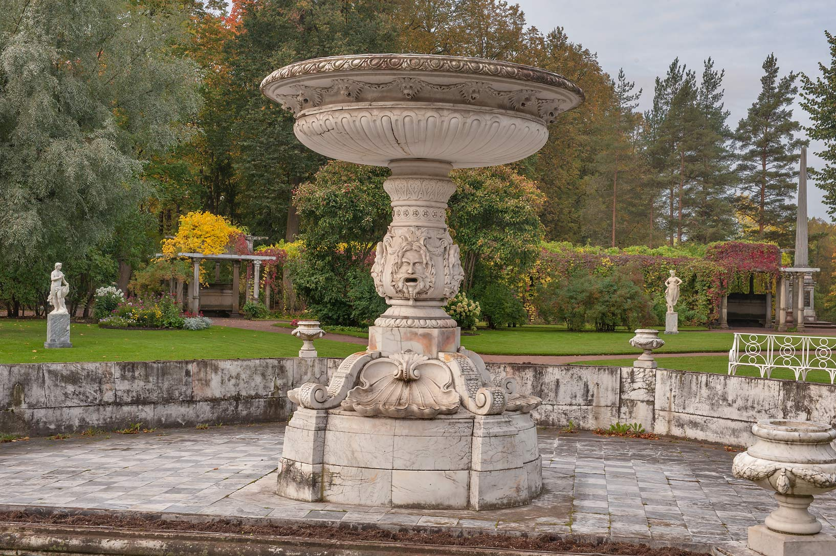 Marble Fountain and nymphs of Private Garden near...south from St.Petersburg, Russia