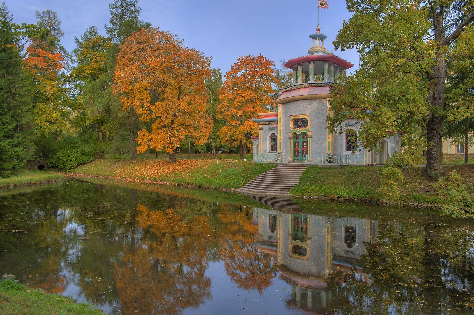 Creaking Summer House and Upper Ponds in...south from St.Petersburg, Russia