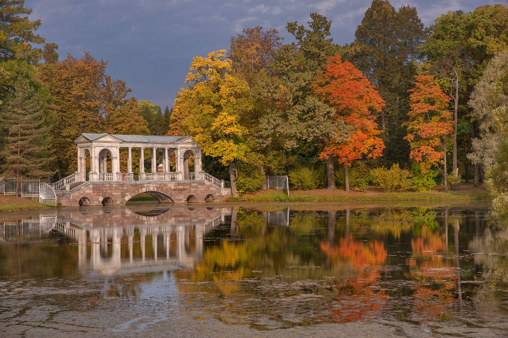Fall foliage around Marble Bridge in Great Pond...south from St.Petersburg, Russia