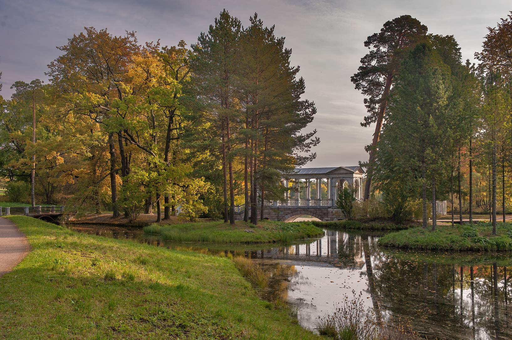 Marble Bridge from east in Catherine Park...south from St.Petersburg, Russia