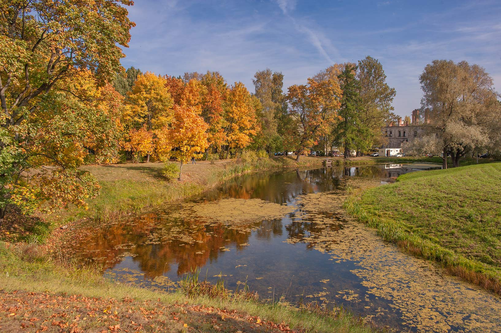 Dipper Pond in Alexander Park. Pushkin (former...south from St.Petersburg, Russia