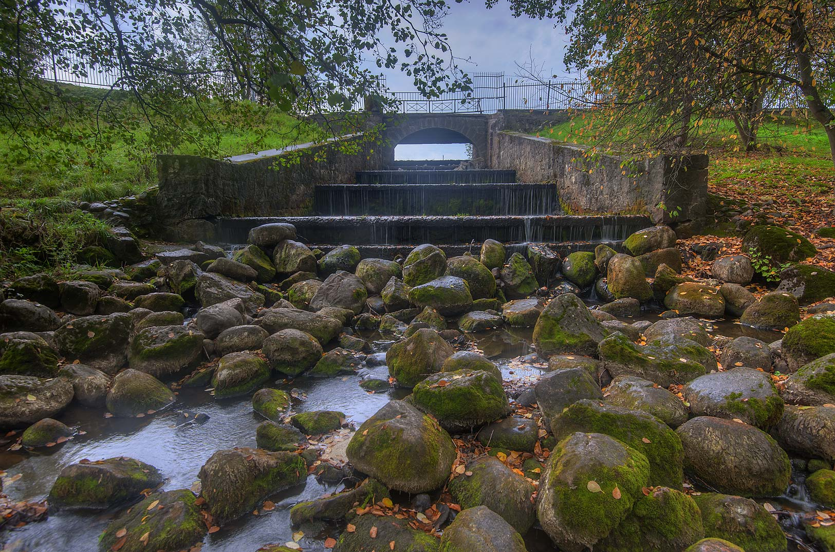 Spillway of Krasny Pond in the park. Oranienbaum...a suburb of St.Petersburg, Russia