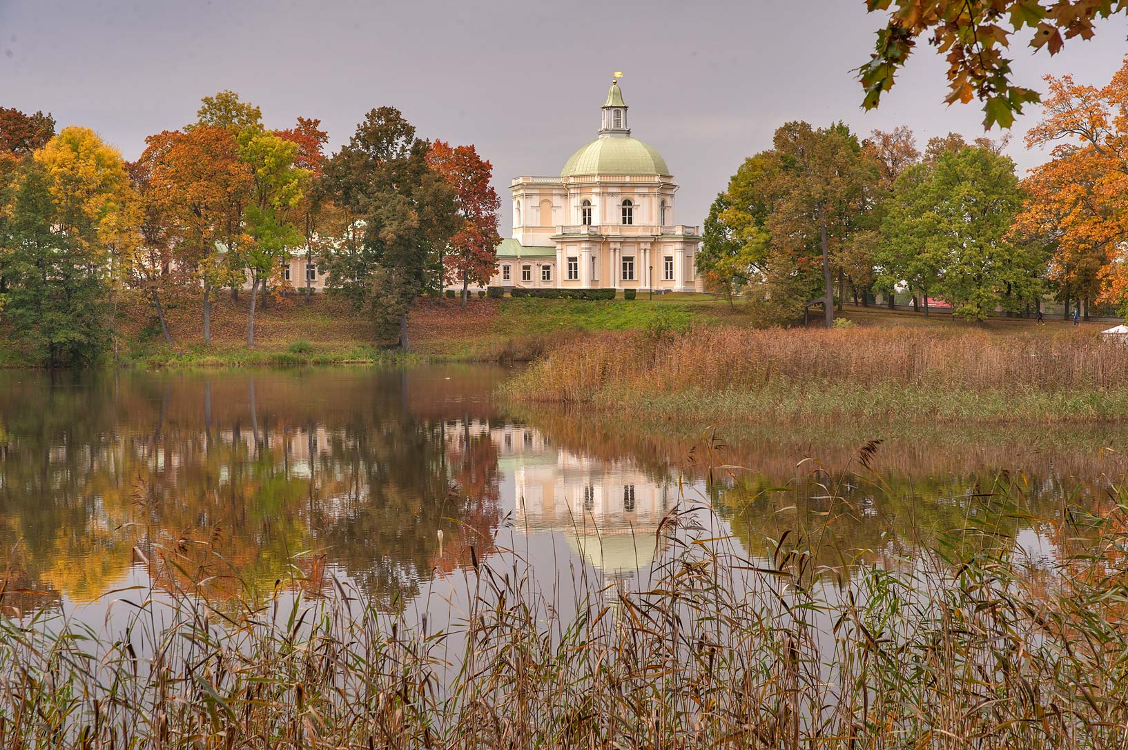 Lower Pond and Japanese Pavilion of Menshikov...a suburb of St.Petersburg, Russia