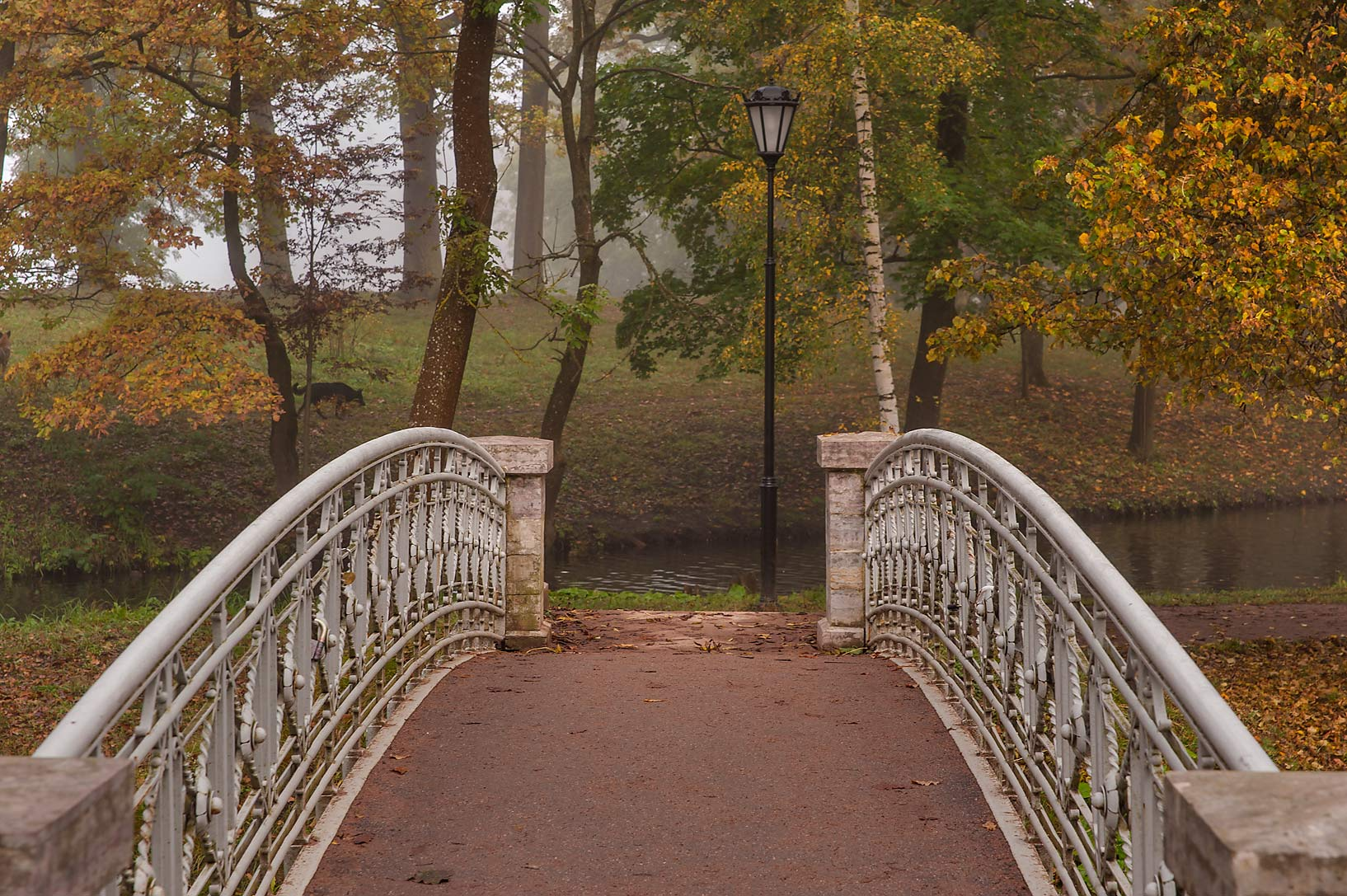 Foot bridge of Water Labyrinth in Gatchina, a suburb of St.Petersburg. Russia