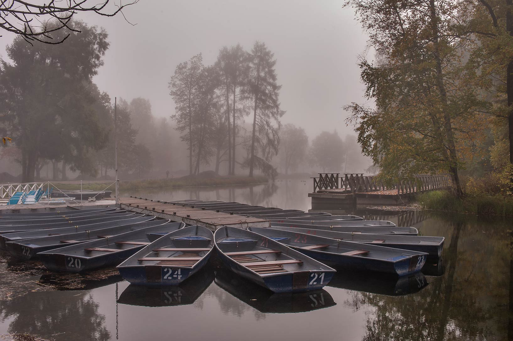 Boats at a pier in fog at northern end of Beloe...a suburb of St.Petersburg. Russia