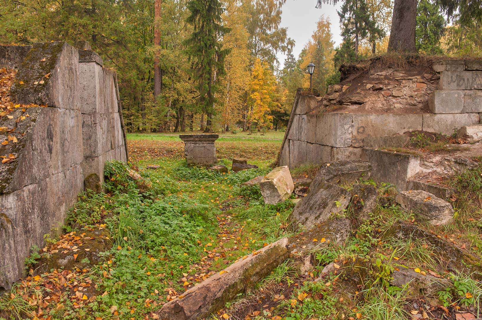 Ruins of amphitheater in Gatchina, a suburb of St.Petersburg. Russia