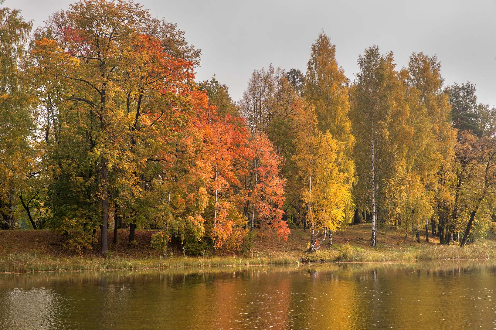 South-west end of Beloe Lake in Gatchina, a suburb of St.Petersburg. Russia